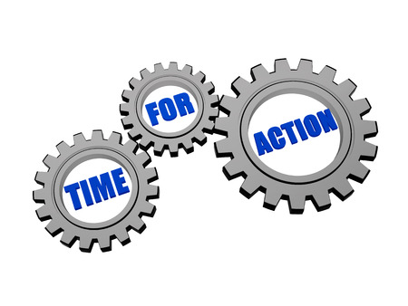 fulfil: time for action - words in 3d silver grey metal gear wheels, business motivation concept Stock Photo