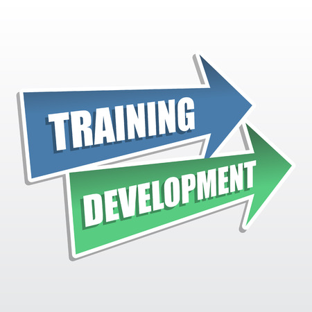 headway: training development - text in arrows, business education concept, flat design Stock Photo