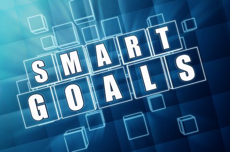 headway: smart goals - text in 3d blue glass cubes with white letters, business success concept Stock Photo