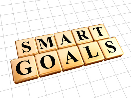 headway: smart goals - text in 3d golden cubes with black letters, business success concept