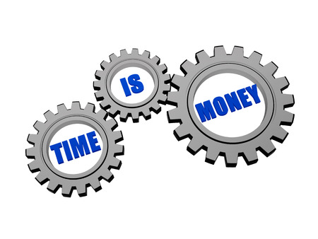 moneymaker: time is money with clock - words in 3d silver grey metal gear wheels, business concept words