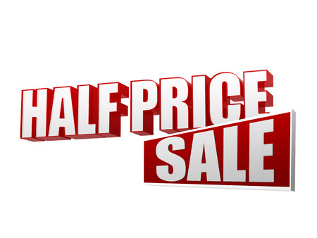 half price sale text - 3d red and white letters and block, business shopping concept photo
