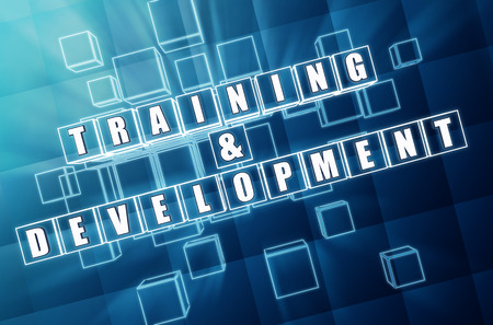 headway: training and development - text in 3d blue glass cubes with white letters, business education concept Stock Photo