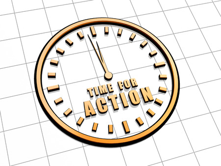 fulfil: time for action with clock - 3d golden metal text and sign, business motivation concept Stock Photo