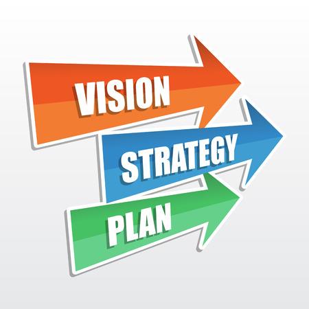 비전, 전략, 계획 - 화살표의 텍스트, 사업 개발 개념, 평면 디자인 스톡 콘텐츠