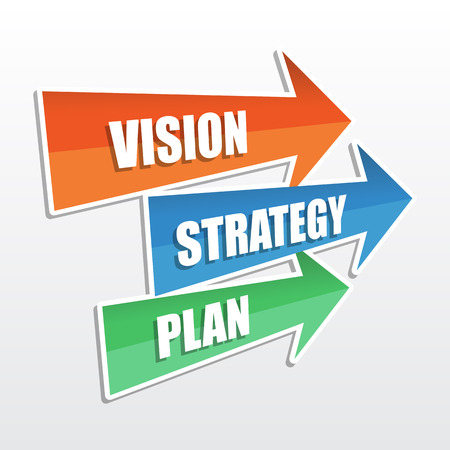 initiative: vision, strategy, plan - text in arrows, business development concept, flat design