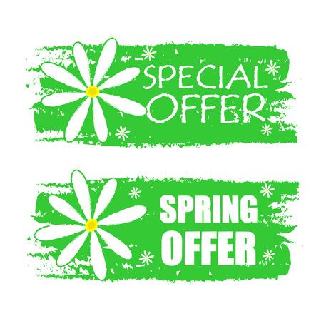 bannières spéciales et offre de printemps - texte en vert étiquettes dessinées avec des fleurs de marguerite blanche, des boutiques d'affaires concept de saison Banque d'images