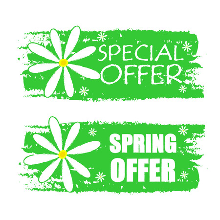 selling off: special and spring offer banners - text in green drawn labels with white daisy flowers, business shopping seasonal concept