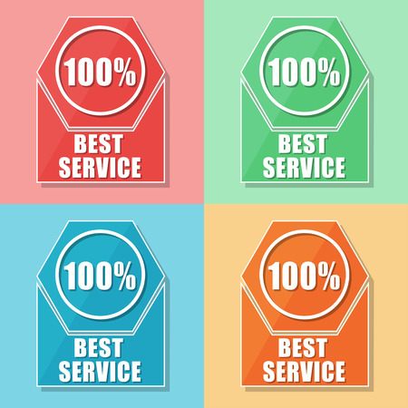 uphold: best service 100 percentages - four colors web icons, flat design, business support concept Stock Photo