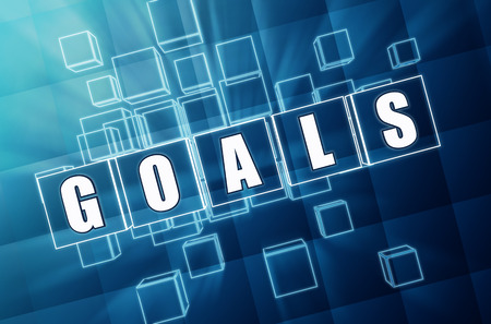 headway: goals - text in 3d blue glass cubes with white letters, business success concept