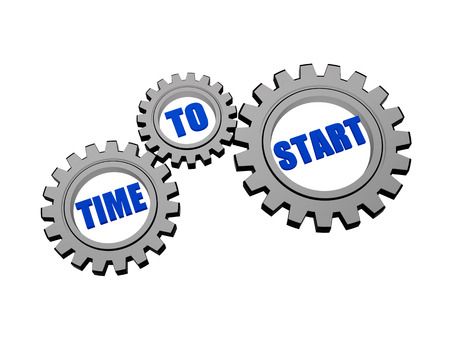 headway: time to start - words in 3d silver grey metal gear wheels, business motivation concept Stock Photo
