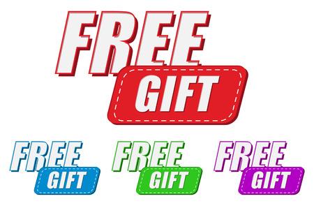 free gift, four colors labels, flat design, business present concept photo
