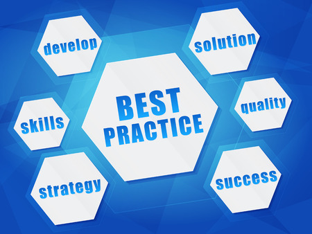 best practice and business concept words in hexagons over blue background, flat design photo
