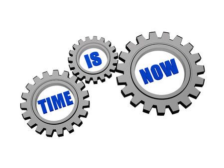 headway: time is now - words in 3d silver grey metal gear wheels, business motivation concept