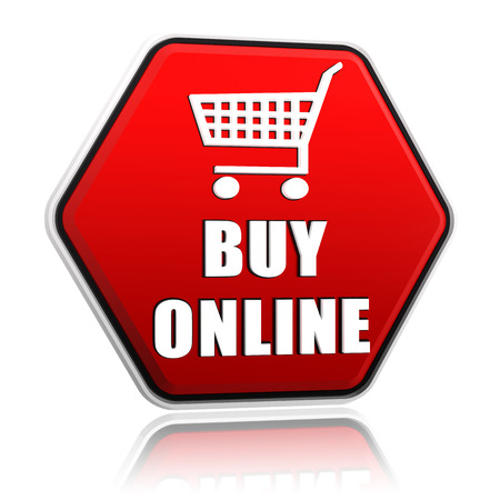 sell online: buy online and shopping cart sign - 3d red hexagon banner with white text and symbol, business shopping concept