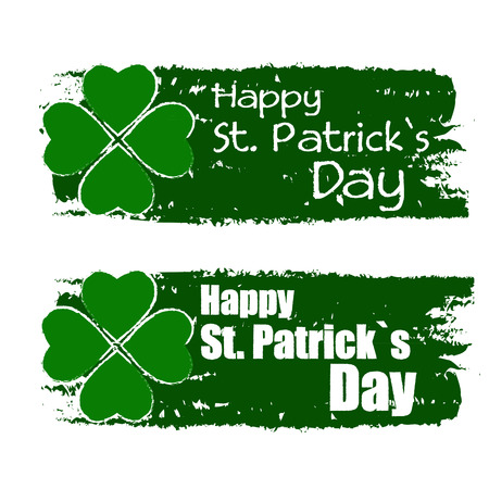 happy St  Patrick s day - text in green drawn banners with four leaved shamrock symbol, holiday seasonal concept