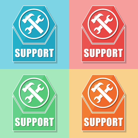 uphold: support and tools sign - four colors web icons with symbol, flat design, business service concept Stock Photo