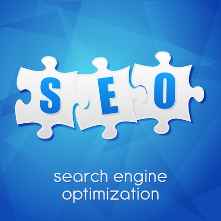 SEO in puzzle pieces, search engine optimization text over blue background, flat design, business technology concept words Stock Photo - 26206460