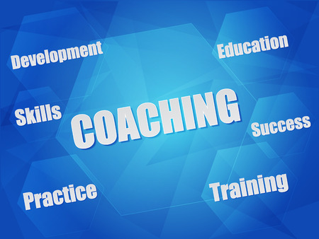 coaching and business concept words in hexagons over blue background, flat design photo