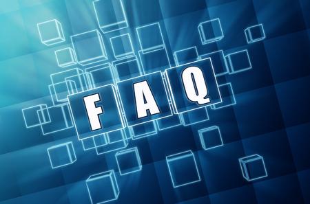 business support: faq - tekst in 3D blauwe glazen kubussen met witte letters, business concept van de ondersteuning Stockfoto