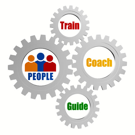 people signs with train, coach and guide - words in 3d silver grey metal gear wheels, business teamwork education concept words photo