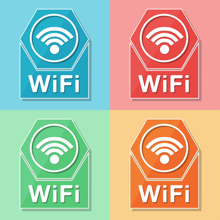 Wifi sign - four colors web icons with wireless symbol, flat design, internet connection concept photo