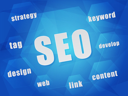 SEO, search engine optimization and business technology concept words in hexagons over blue Stock Photo - 26400670