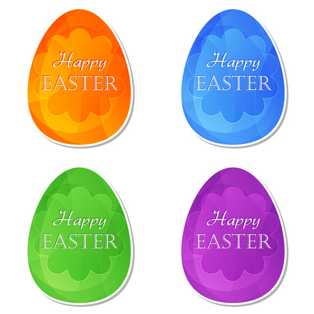 the feast of the passover: Happy Easter text on four colors labels, easter eggs with spring daisy flowers, holiday seasonal concept, flat design Stock Photo