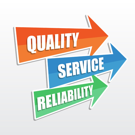 quality, service, reliability - text in arrows, business concept, flat design photo