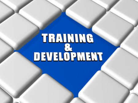 training and development - 3d white text over blue between grey boxes keyboard, business education concept photo