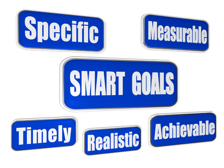 achievable: smart goals - specific, measurable, achievable, realistic, timely  - text in 3d blue banners with business concept words