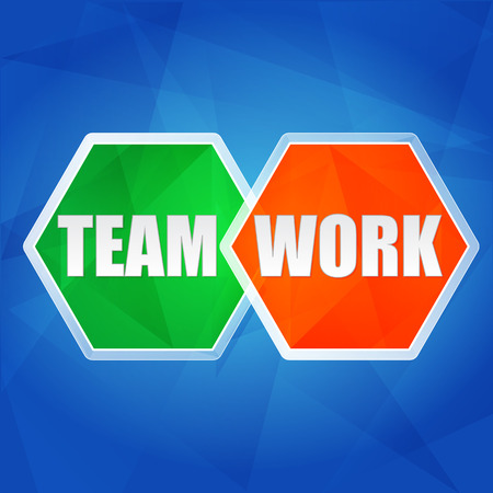 teamwork in color hexagons over blue  photo
