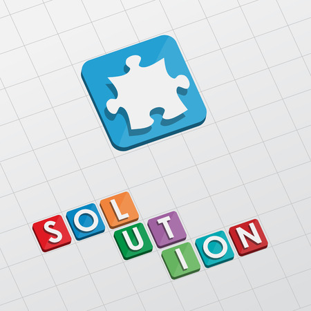 solution and puzzle piece - text with symbol in flat design, business creative concept
