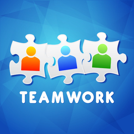 teamwork and puzzle pieces with person signs over blue background, flat design, business team building concept photo