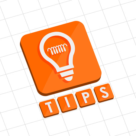 tip up: tips and bulb symbol - text with sign in flat design web icon, business support concept Stock Photo