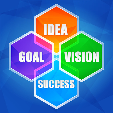 intention: idea, goal, vision, success - business growth concept words in color hexagons over blue background, flat design Stock Photo