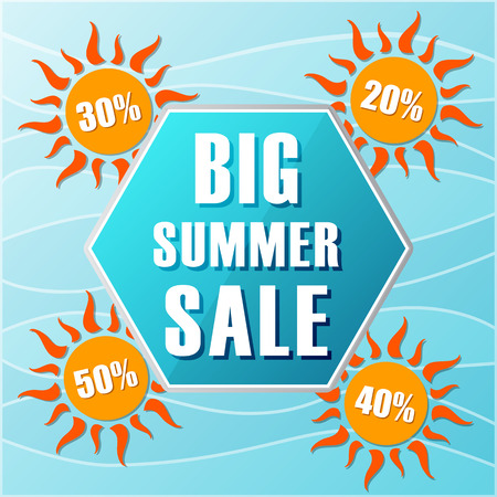 selling off: big summer sale text in blue hexagon and 20, 30, 40, 50 percentages off in orange suns, flat design label, business seasonal shopping concept banner