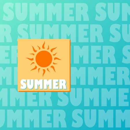 text summer and drawn sun in orange and yellow over blue background, flat design label Stock Photo