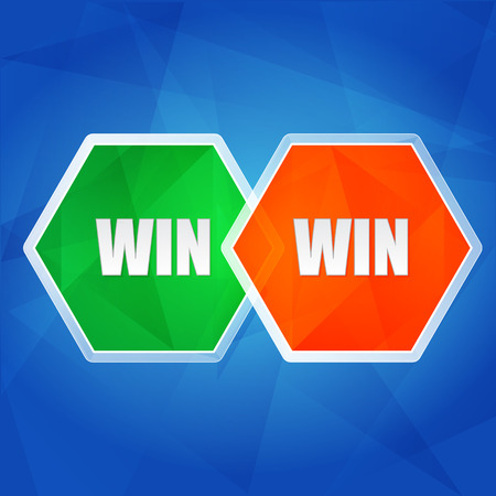 headway: win win - business success teamwork concept words in color hexagons over blue background, flat design