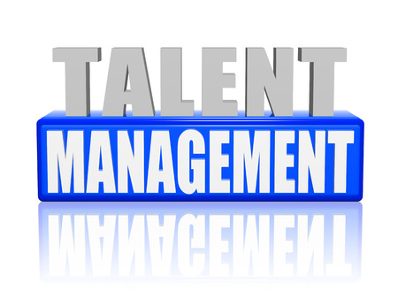 realization: talent management - text in 3d blue and white letters and block, ability growing concept words