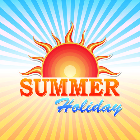 summery: abstract summery illustration with text summer holiday and sun and rays in orange and blue
