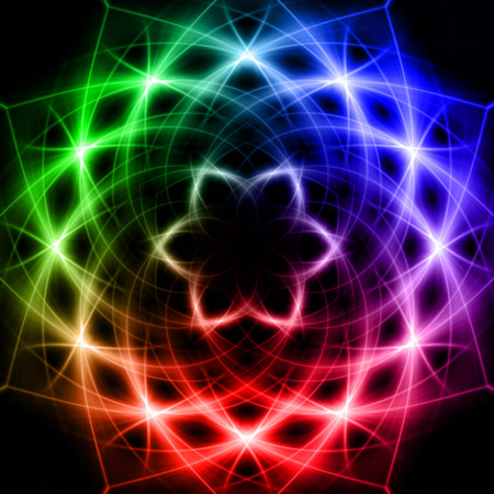 irradiation: abstract rainbow colourful star with shining light rays like mandala form
