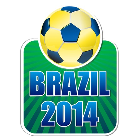 brazil 2014, banner with ball and rays photo