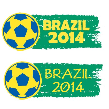 Brazil 2014, green draw banner with ball photo