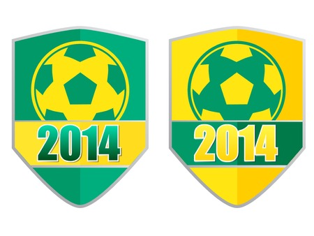 Soccer 2014 badge with ball and  Brazilian colors photo
