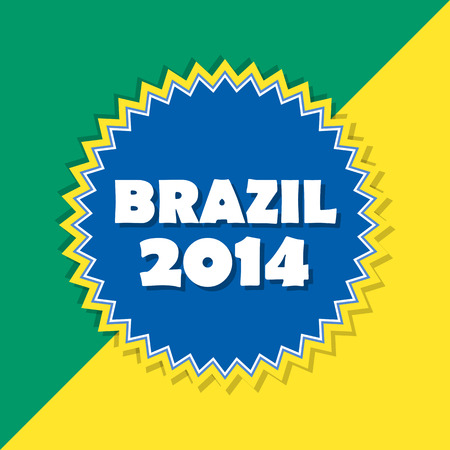 Brazil 2014, retro abstract design, football sport concept label photo