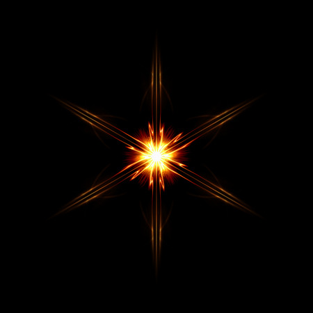 shaft: abstract star with six shining light rays over black background