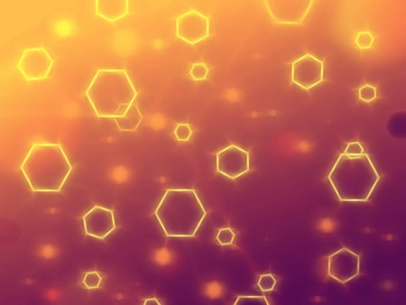 hexahedral: abstract yellow violet background with hexagons and shining lights Stock Photo