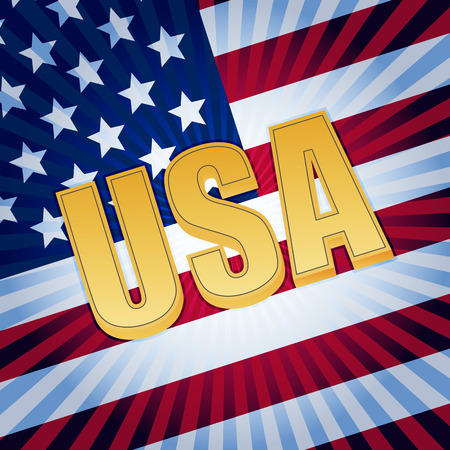 USA - 3d golden text with shining american flag, usa independence concept photo
