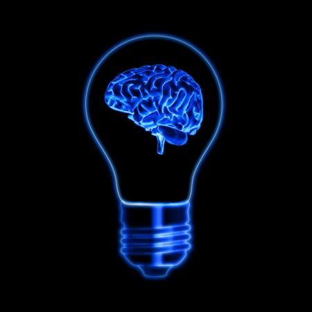 inventive: light bulb sign with brain - shining symbol over black background, creative concept web icon